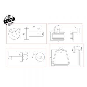 Accesorios Para Baño INEX Europa Kit De 4 Piezas Metálico Cromado Pulido Toallero De Anilla Porta Papel Higiénico Jabonera De Rejilla Y Percha Colgador Doble