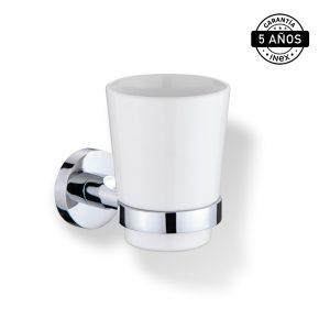 Accesorios Para Baño INEX Europa Kit De 6 Piezas Metálico Cromado Porta Cepillos Con Vaso Cerámico